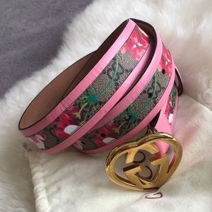 Gucci Scorpio Flower Color Leather Belt